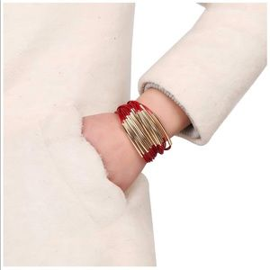 Jewelry - Red & Gold Magnetic Clasp Bangle Bracelet